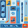 Wintersport Hintergrund mit flach Symbole
