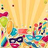 Feier Hintergrund mit Aufkleber und Karneval