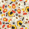 Nahtlose Muster mit niedlichen Hunden, Symbole und Objekte