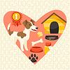 Hintergrund mit niedlichen Hund, Symbole und Objekte