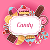 Background with colorful sticker candy, sweets and | Stock Vector Graphics
