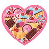 Hintergrund mit bunten Aufkleber Süßigkeiten, Bonbons und