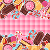 Seamless pattern colorful sticker candy, sweets | Stock Vector Graphics