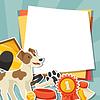 Hintergrund mit niedlichen Aufkleber Hund, Symbole und Objekte