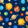Kosmischen nahtlose Muster mit Planeten des Sonnensystems