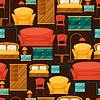 Innen nahtlose Muster mit Möbel im Retro-