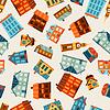 Векторный клипарт: Город бесшовные узор с милой разноцветных домов