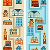 Векторный клипарт: Городские бесшовные модели с симпатичными разноцветными домами