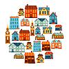 Stadt-Icon-Set von niedlichen bunten Häusern