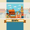 Векторный клипарт: Город дизайн фона с милой разноцветных домов