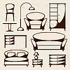 Innen Symbol mit Möbel im Retro-Stil Set
