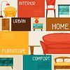 Векторный клипарт: Интерьер фон с мебелью в стиле ретро