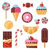 Векторный клипарт: Набор красочных различных конфет, сладостей и тортов