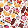 ID 4528304 | Nahtlose Muster bunten verschiedenen Süßigkeiten, Bonbons | Stock Vektorgrafik | CLIPARTO