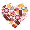 Векторный клипарт: Фон с красочными различных конфет, сладостей и
