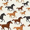 Векторный клипарт: Бесшовные с лошади работает в плоском стиле
