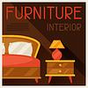 Векторный клипарт: Интерьер с мебелью в стиле ретро