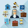 Law icons Hintergrund in flachen Design-Stil