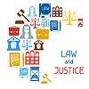 Recht und Gerechtigkeit Symbolen Hintergrund im flachen Design