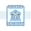Recht und Gerechtigkeit Firmennamen Konzept Emblem