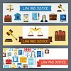 Recht und Gerechtigkeit horizontale Banner in flaches Design