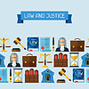 Law icons nahtlose Muster im flachen Design-Stil