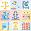 Law Kontur Icons in flachen Design-Stil Set