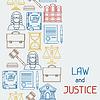Recht und Gerechtigkeit Symbole nahtlose Muster in Flach