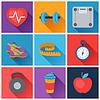 Sport und Fitness icons in flachen Stil Set