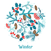 Fondo de la Feliz Navidad con estilizada de invierno | Ilustración vectorial