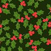Invierno sin patrón con estilizadas hojas de acebo | Ilustración vectorial