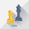 Spiel mit Schach im flachen Design-Stil