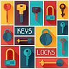 Hintergrunddesign mit Schlössern und Schlüsseln Symbole