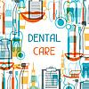 Medizinische Hintergrunddesign mit zahnmedizinischen Geräten