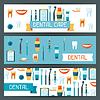 Medical Banner-Design mit zahnmedizinischen Geräten Symbole