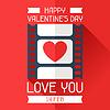 Alles Gute zum Valentinstag in flachen Stil