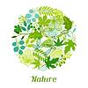 Fondo de hojas verdes estilizadas | Ilustración vectorial