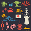 Japan Symbolen und Zeichen Set