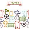 Sport nahtlose Muster mit Fußball Symbole