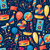 Celebration nahtlose Muster mit Parteisymbole und