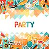 Celebration Hintergrund mit Party Aufkleber Symbole
