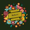 Karte mit schönen einfachen Blumen, Käfer und
