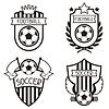 Set von Sport-Etiketten mit Fußballfußball Symbole