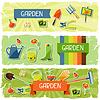 Banner mit Garten Aufkleber Design-Elemente und Symbole.