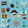 Set Aufkleber und Objekte auf Piraten-Thema