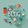 Векторный клипарт: Блог концепция в плоском стиле дизайна