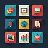Векторный клипарт: Набор иконок в блоге в плоском стиле дизайна