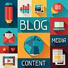 Векторный клипарт: Средства массовой информации и связи концепция с иконками в блоге