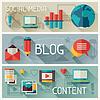 Векторный клипарт: Средства массовой информации и баннеры сценография с иконками в блоге