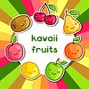 Hintergrund mit niedlichen kawaii lächelnde Früchte Aufkleber
